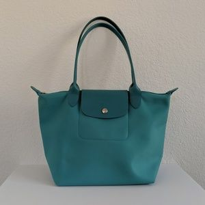 Longchamp Turquoise Blue Planetes Small Tote